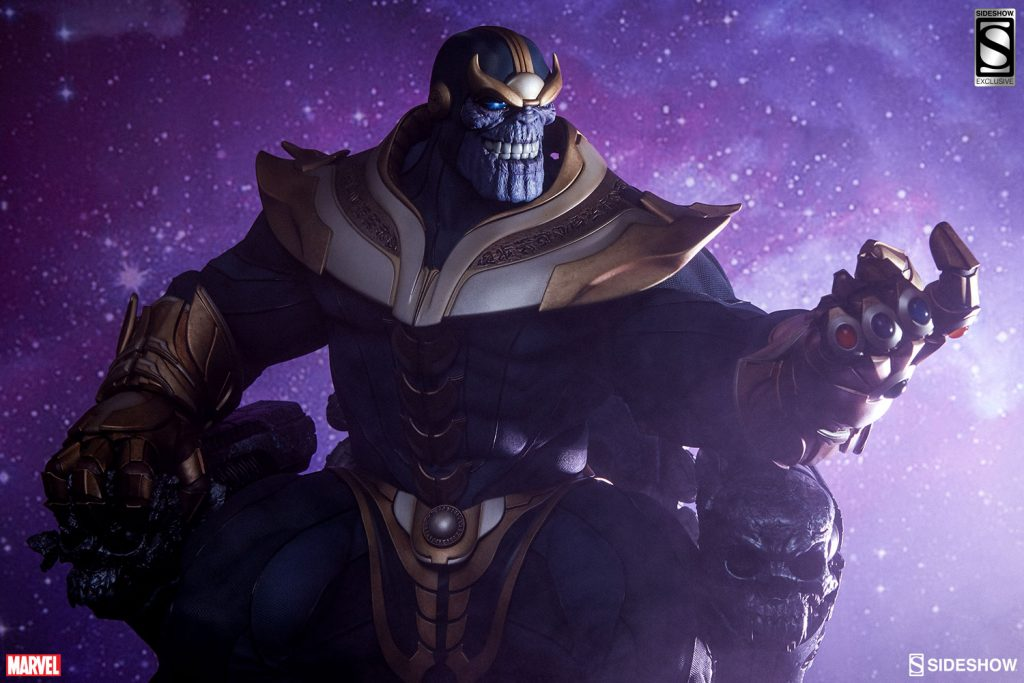 Thanos on his throne with the infinity gauntlet