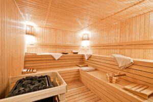 Sauna Room features at PSB Fitness: Sun & Sand