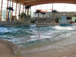 SWIMMING AT INDOOR BEACH